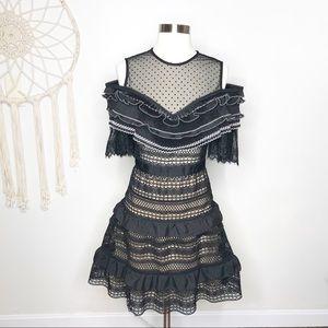 Self Portrait Black Stripe Paneled Lace Dress